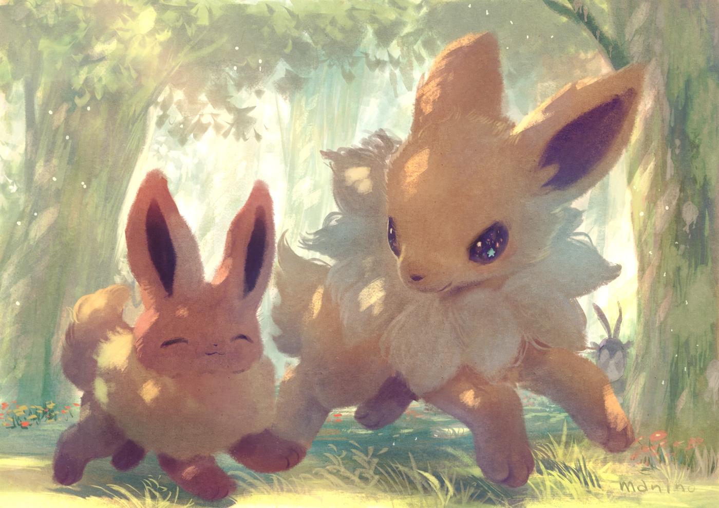 animal eevee forest fox jolteon manino_(mofuritaionaka) nobody pokemon signed tree