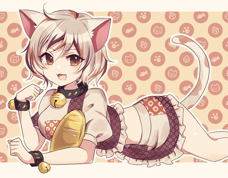 animal_ears bell brown_eyes catgirl cat_smile collar fang goutokuji_mike gray_hair short_hair skirt subaru_(subachoco) tail touhou wristwear