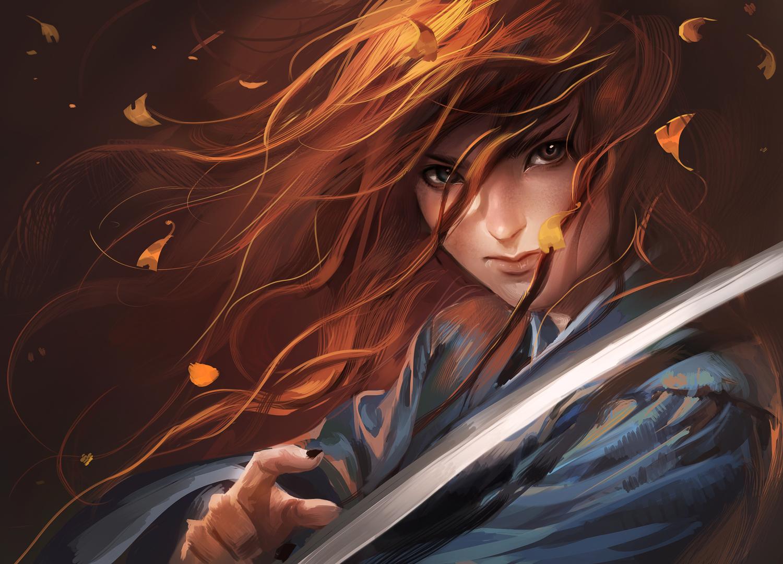 close red_hair sakimichan samurai sword weapon