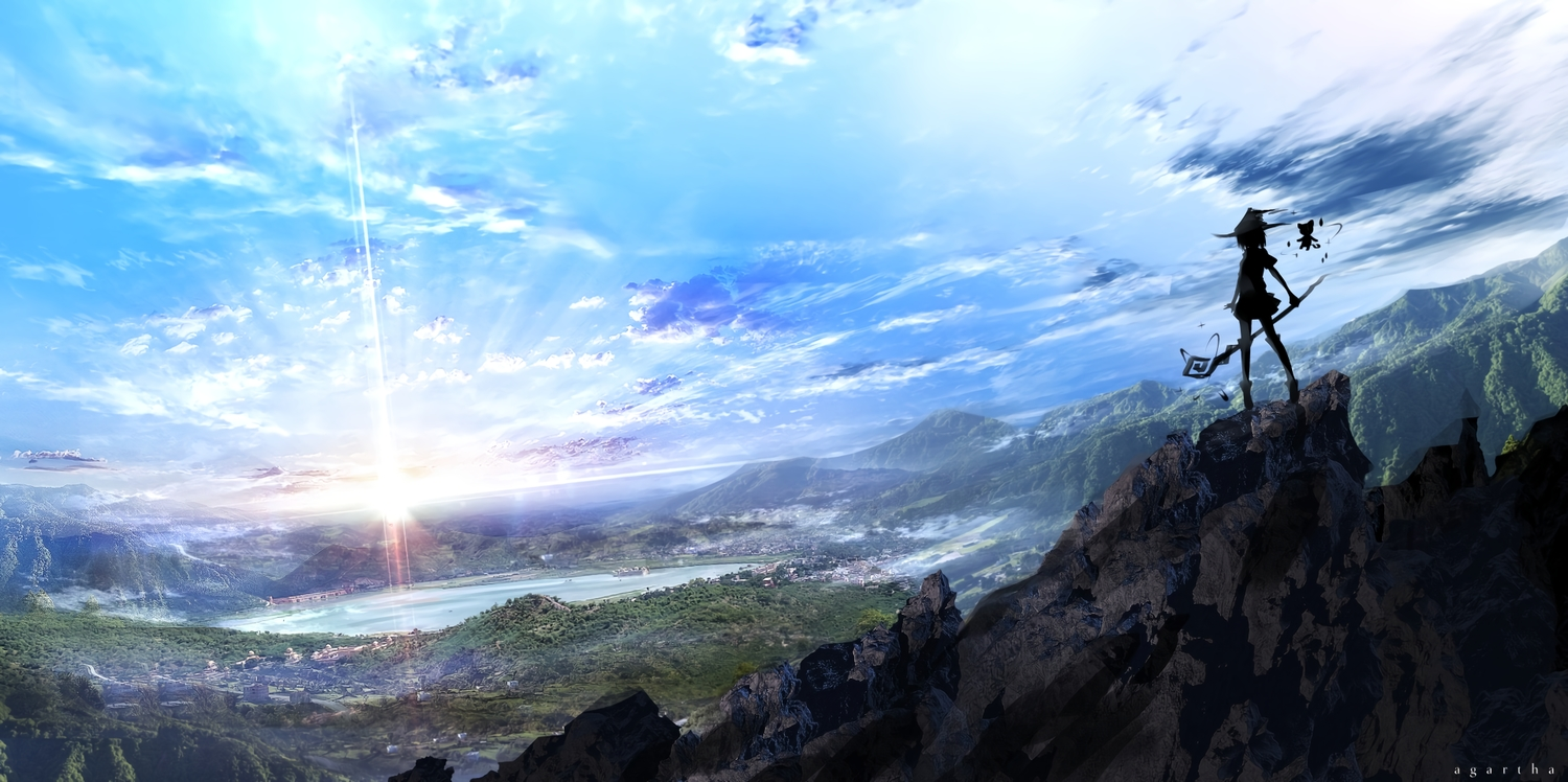clouds cropped hat landscape original scenic silhouette sky water witch yoshimo_(yoshiki_qaws)