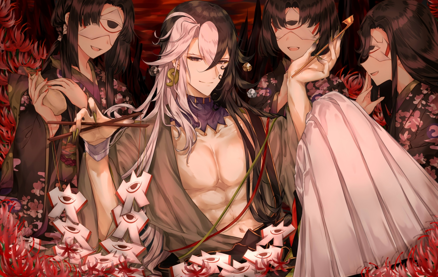 ashiya_douman bell black_eyes black_hair doll drink fate/grand_order fate_(series) flowers group japanese_clothes kimono long_hair male mask open_shirt paper puppet purionpurion sake short_hair wristwear