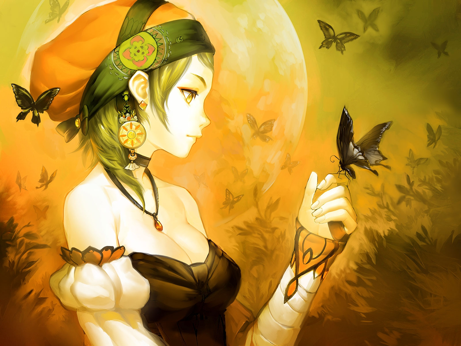 breasts butterfly cleavage green_hair hat moon necklace patipat_asavasena short_hair yellow yellow_eyes