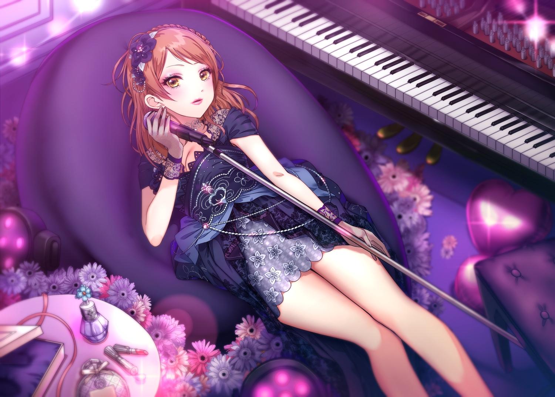 dress flowers houjou_karen idolmaster idolmaster_cinderella_girls instrument maou(demonlord) microphone piano