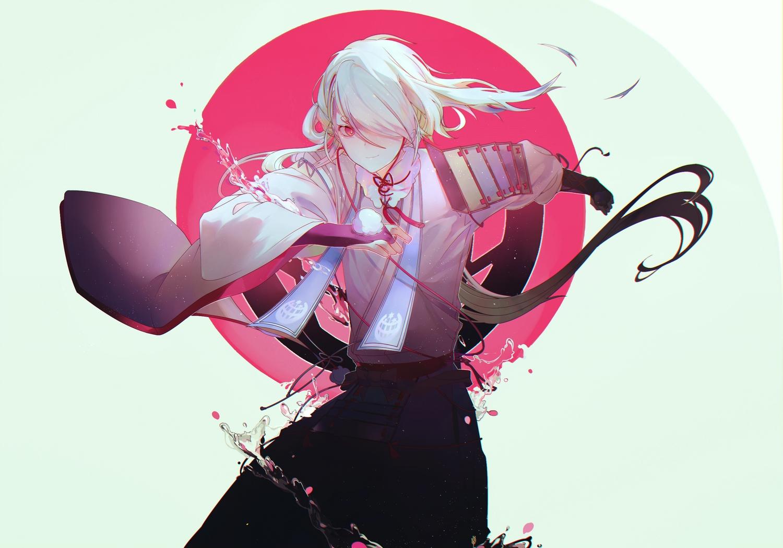 all_male anthropomorphism ima-no-tsurugi japanese_clothes male petals red_eyes tagme_(artist) touken_ranbu water white_hair