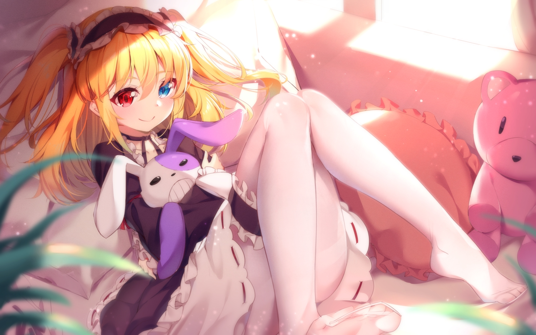 bed bicolored_eyes blush boku_wa_tomodachi_ga_sukunai bunny dress garter goth-loli hasegawa_kobato headdress loli lolita_fashion long_hair maid nahaki pantyhose teddy_bear