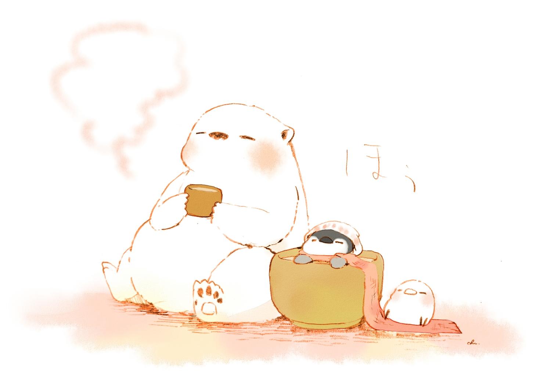 animal bath bear bird chai_(artist) drink hat original penguin polychromatic scarf signed white