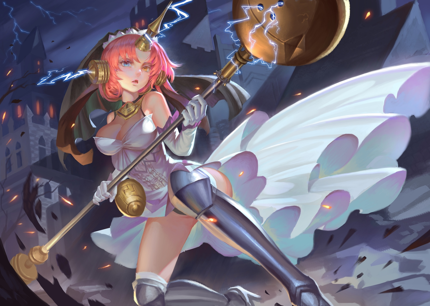 armor bicolored_eyes breasts building cleavage clouds dress elbow_gloves fang fate/apocrypha fate/grand_order fate_(series) frankenstein gloves god_hunter horns night panties pink_hair short_hair sky underwear weapon