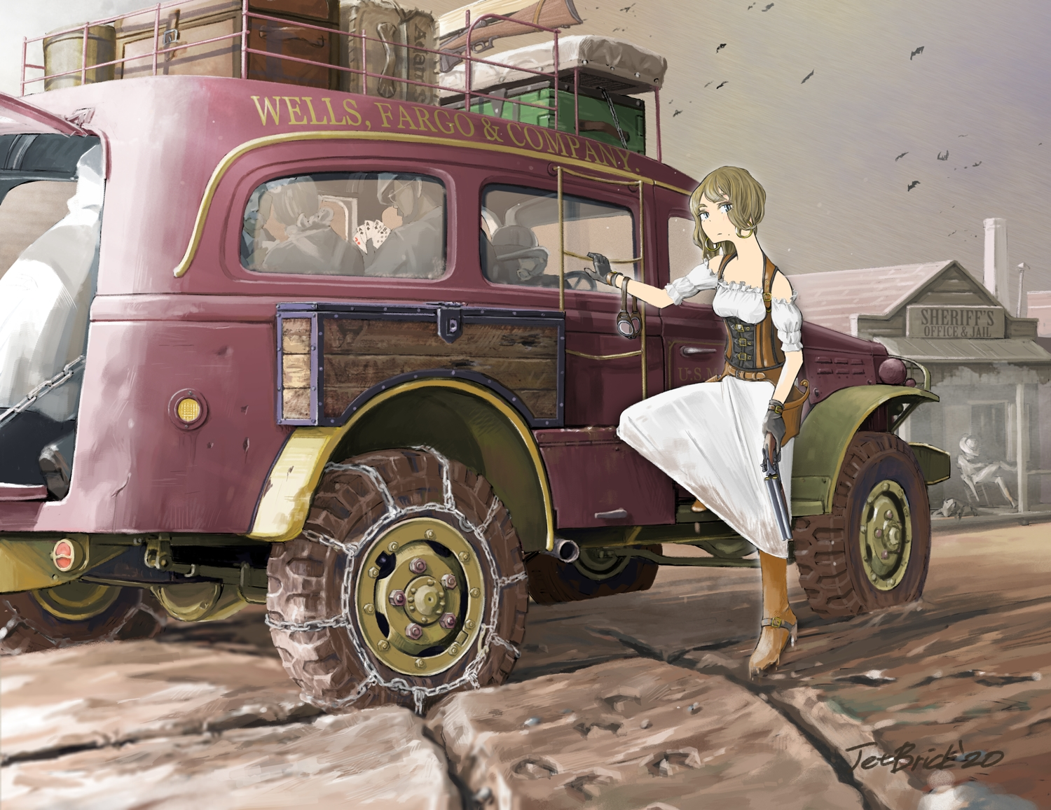 blue_eyes brown_hair car chain glasses gloves gun jetbrick male original short_hair signed weapon
