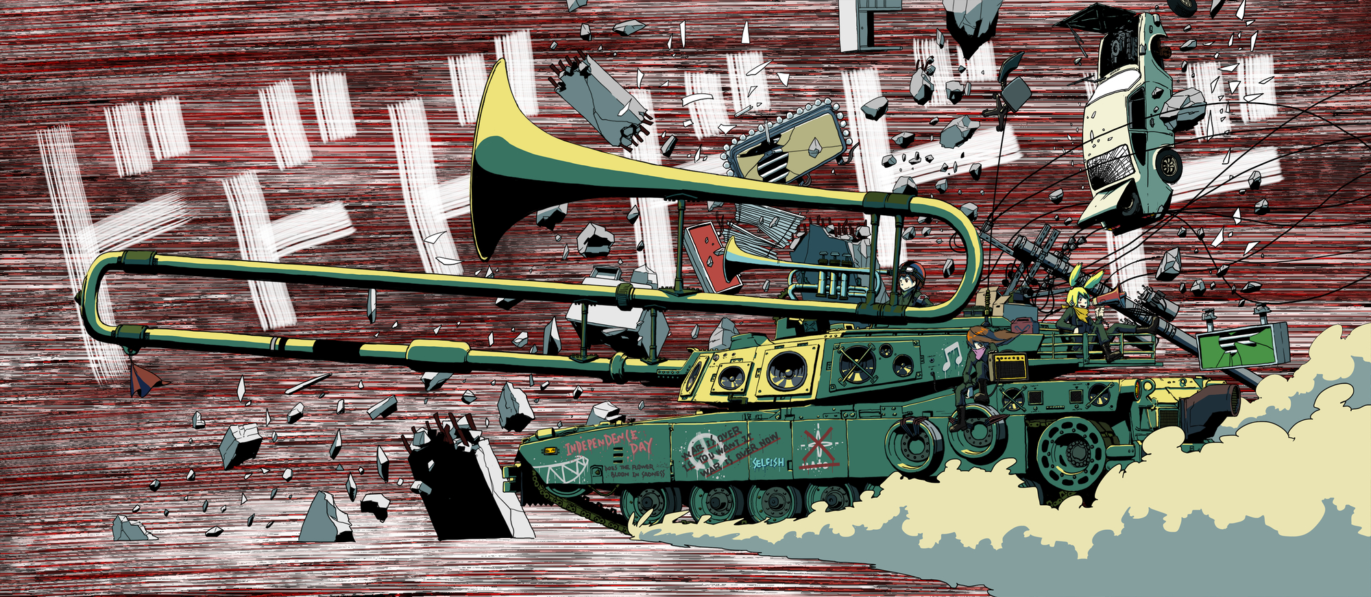 a.hebmuller car combat_vehicle graffiti instrument original ruins