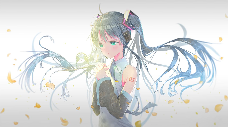 hatsune_miku long_hair tagme_(artist) twintails vocaloid