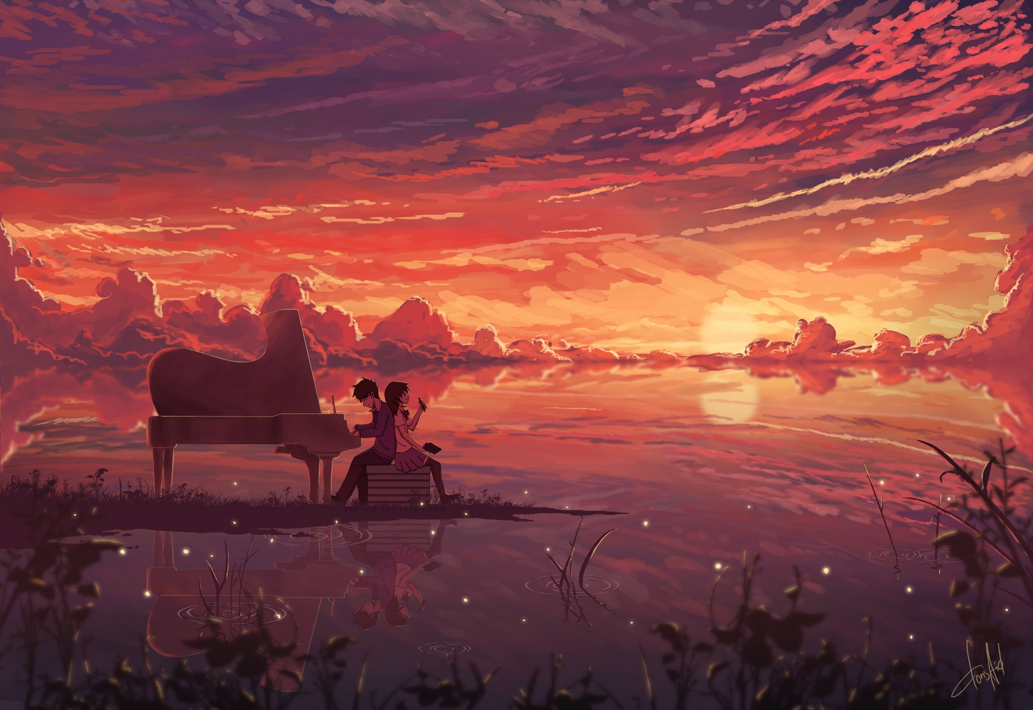 aliasing black_hair clouds donsaid instrument long_hair male original piano reflection scenic school_uniform short_hair signed skirt sky water