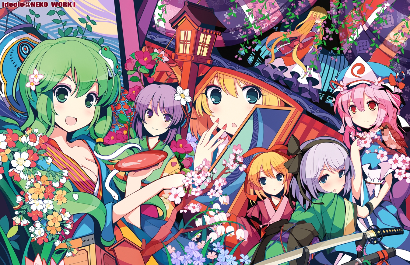 blonde_hair blue_eyes blush breasts cherry_blossoms cleavage dress drink flowers gray_hair green_eyes green_hair group hieda_no_akyuu ideolo japanese_clothes katana kimono kochiya_sanae konpaku_youmu long_hair medicine_melancholy pink_hair purple_eyes purple_hair red_eyes ribbons saigyouji_yuyuko sake short_hair sword touhou watermark weapon yakumo_yukari