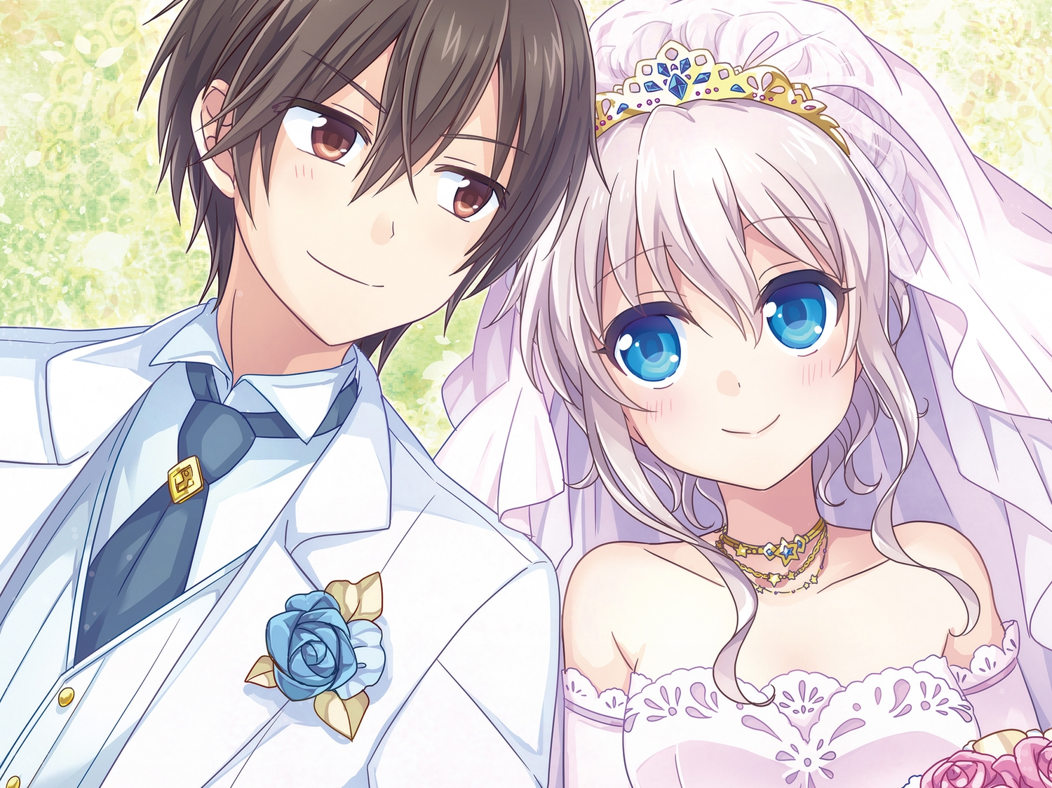 black_hair blue_eyes blush brown_eyes charlotte cropped dress elbow_gloves flowers gloves kousetsu long_hair male otosaka_yuu short_hair tiara tie tomori_nao wedding wedding_attire white_hair