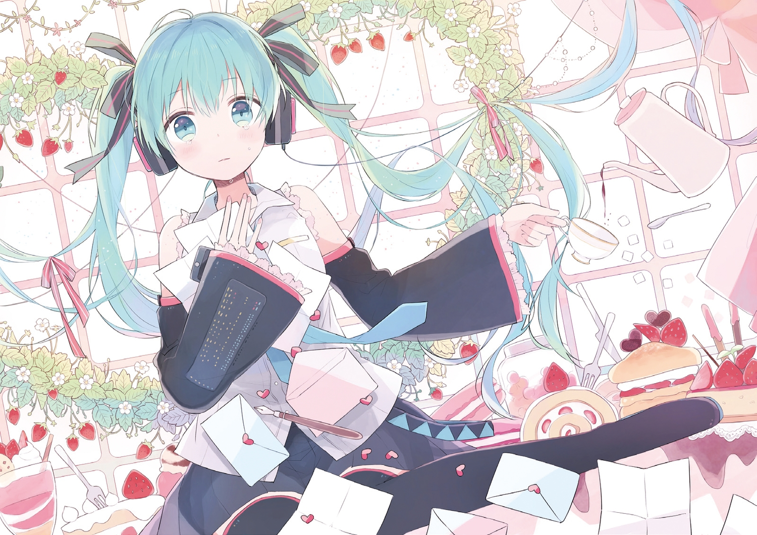 blue_eyes blue_hair blush food fruit gomi_chiri hatsune_miku jpeg_artifacts paper strawberry tears twintails vocaloid