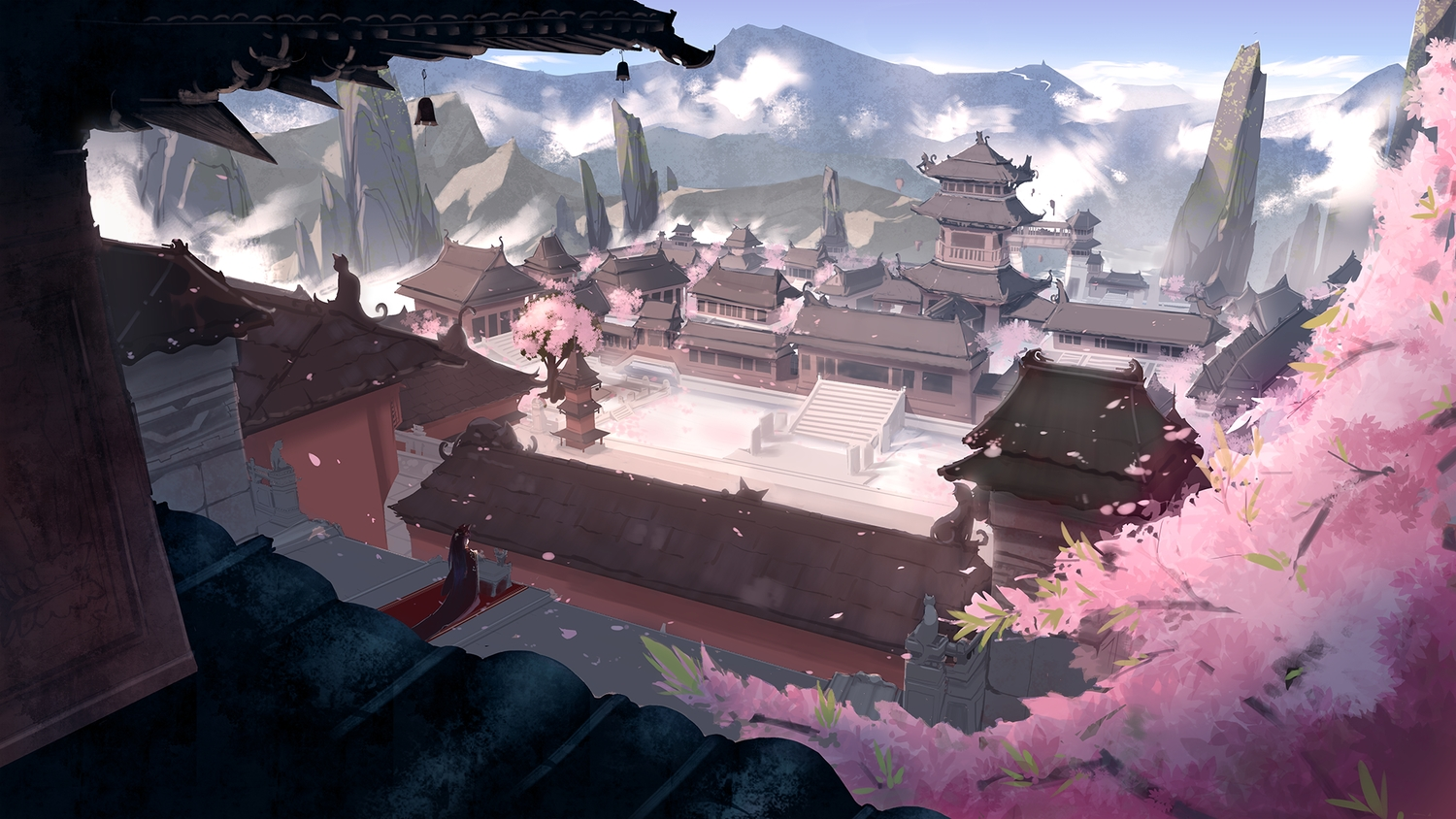 animal_ears building cherry_blossoms flowers futoshi_ame japanese_clothes landscape original scenic tree