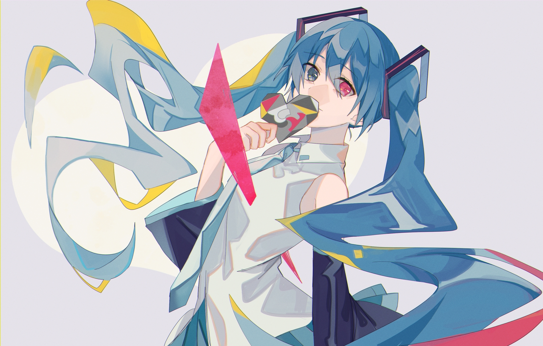 bicolored_eyes blue_hair hatsune_miku long_hair omutatsu tie twintails vocaloid white