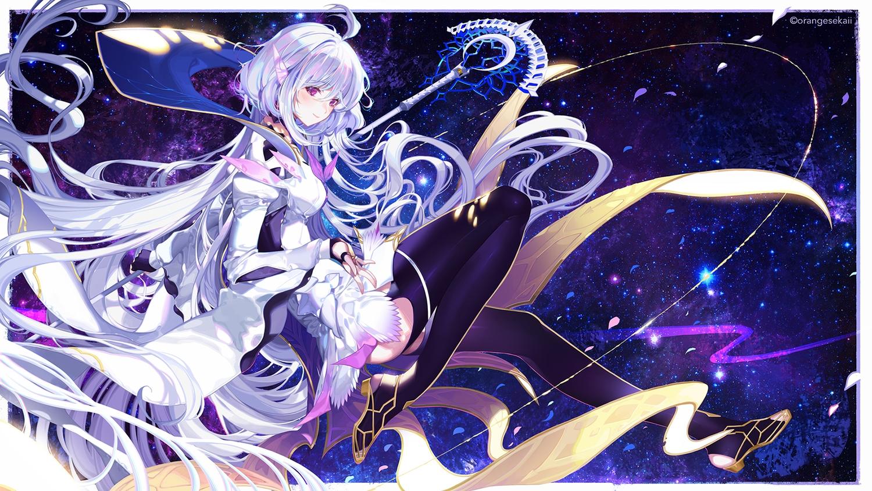dress fate/grand_order fate_(series) garter_belt long_hair merlin_(fate/prototype) orangesekaii pointed_ears purple_eyes staff watermark white_hair