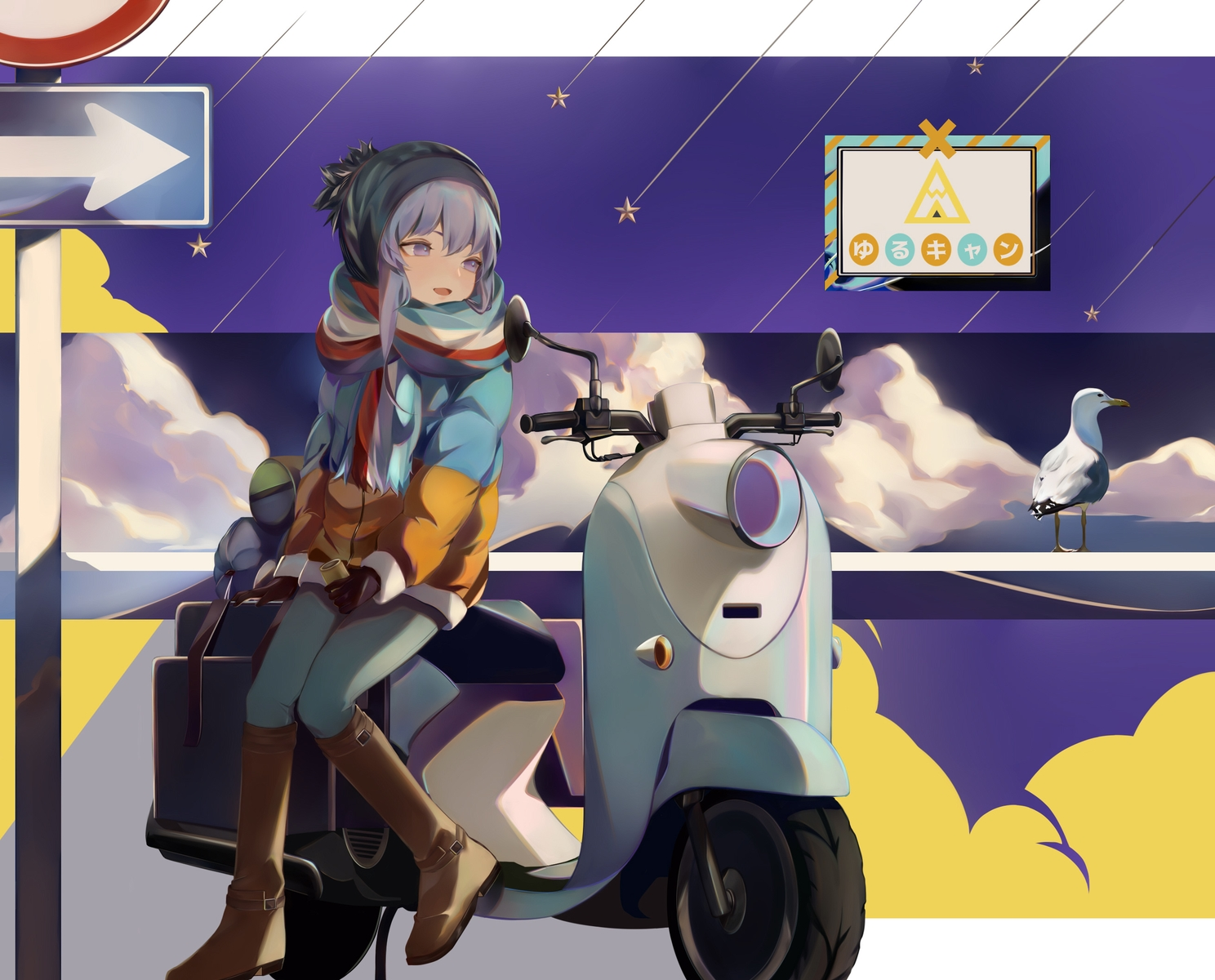 animal bird boots gloves hat motorcycle purple_eyes purple_hair scarf shima_rin skq196 yuru_camp