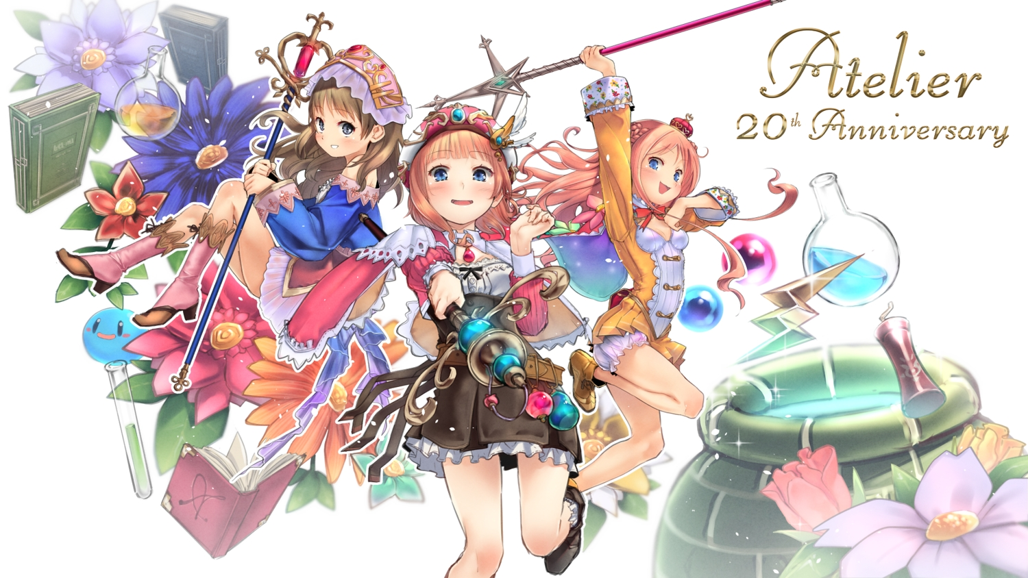atelier atelier_meruru atelier_rorona atelier_totori bloomers blue_eyes blush book boots brown_hair crown dress flowers gray_eyes hat headdress long_hair merurulince_rede_arls pink_hair rororina_fryxell skirt staff sumi_(oyasumie) totooria_helmold