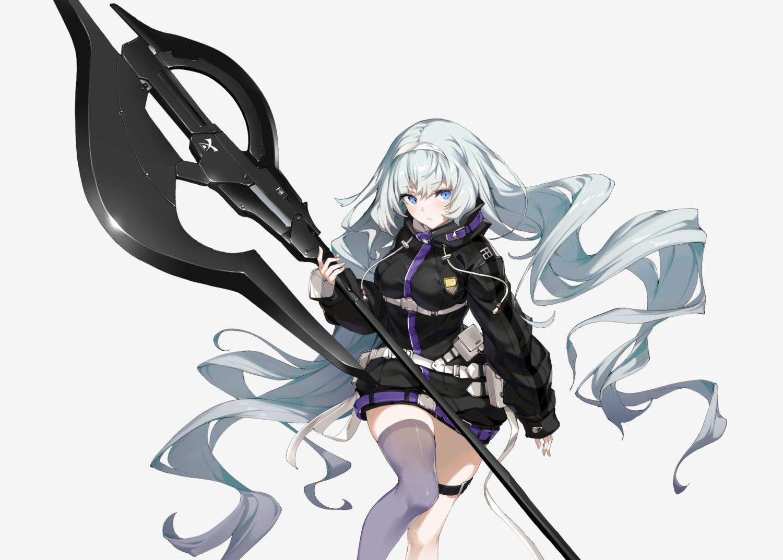 aqua_hair blue_eyes cropped garter headband hoodie ikomochi long_hair original thighhighs weapon