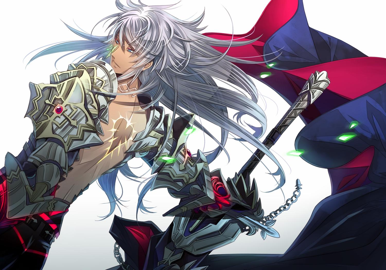 all_male aqua_eyes chain fate/apocrypha fate_(series) gray_hair kariya_(mizore) long_hair male siegfried sword weapon