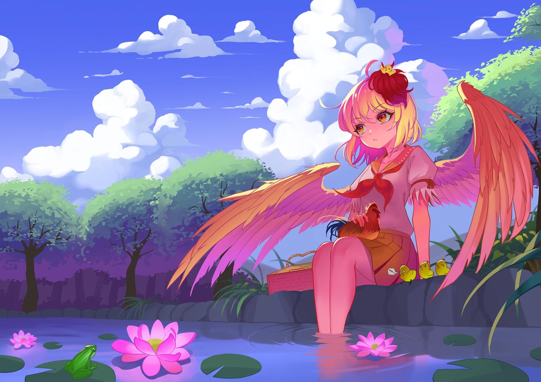 animal bird blonde_hair frog niwatari_kutaka recare red_eyes school_uniform short_hair touhou wings