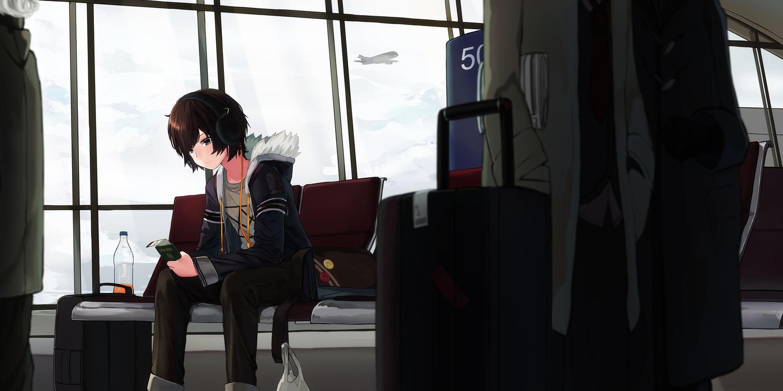 aircraft all_male brown_hair clouds drink green_eyes headphones hoodie male natori_youkai original short_hair sky