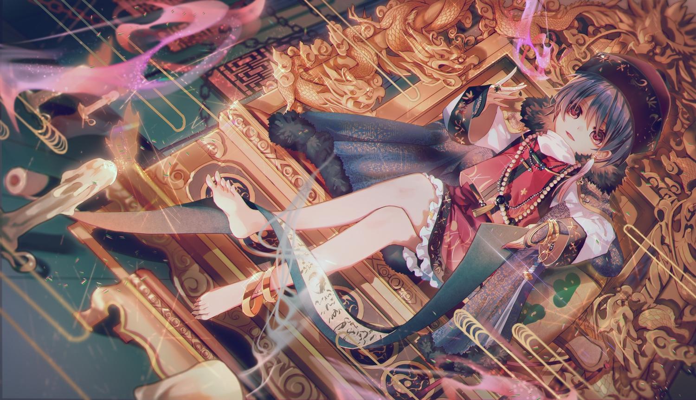 barefoot black_hair cape hat necklace red_eyes short_hair sukuna_shinmyoumaru touhou yasato