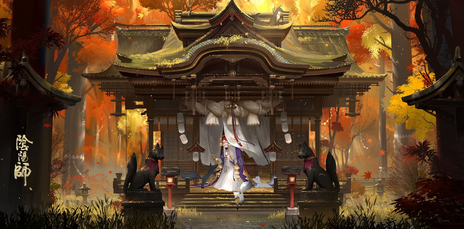 animal autumn fom_(lifotai) forest fox japanese_clothes leaves miko original shrine signed sunset tree water