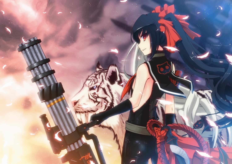 animal black_hair blade_&_soul elbow_gloves feathers gloves gun long_hair po_hwa_ran red_eyes tiger twintails uiu weapon