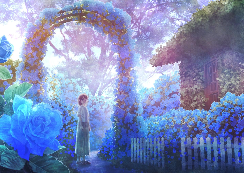 blue building flowers kupe original rose scenic