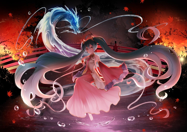 dragon hatsune_miku japanese_clothes mamo_(fortune-mm) vocaloid