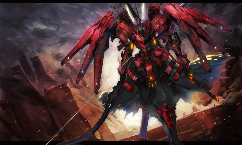 bow_(weapon) building city clouds gond mecha original pixiv_fantasia silhouette sky weapon