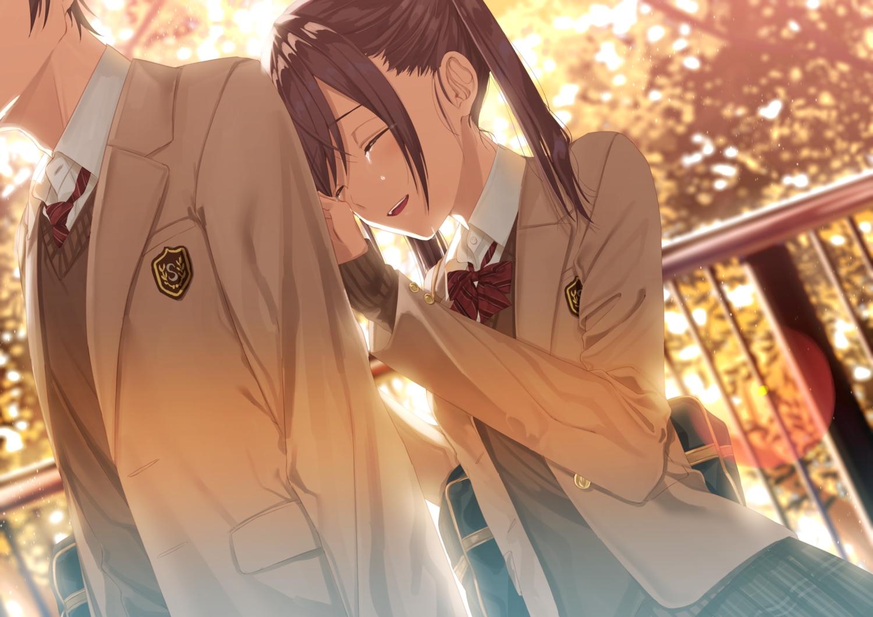 bow brown_hair crying kukiha long_hair male original seifuku skirt tears twintails