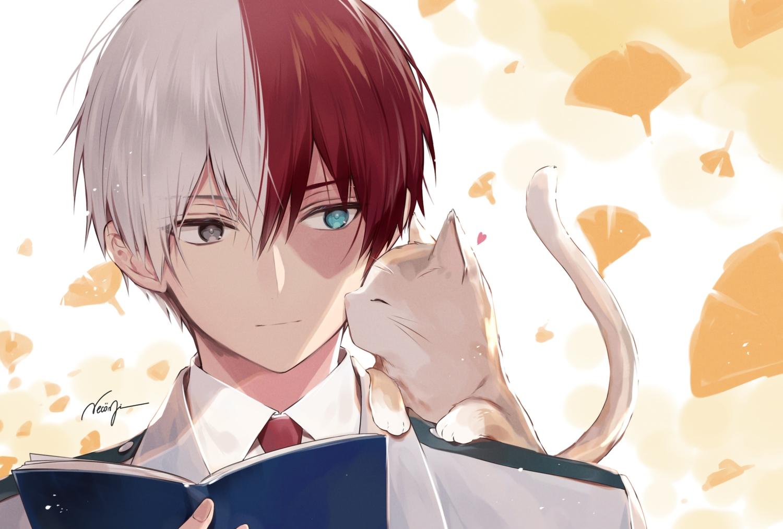 all_male animal bicolored_eyes boku_no_hero_academia book cat close leaves male necomi scar school_uniform short_hair signed tie todoroki_shouto waifu2x