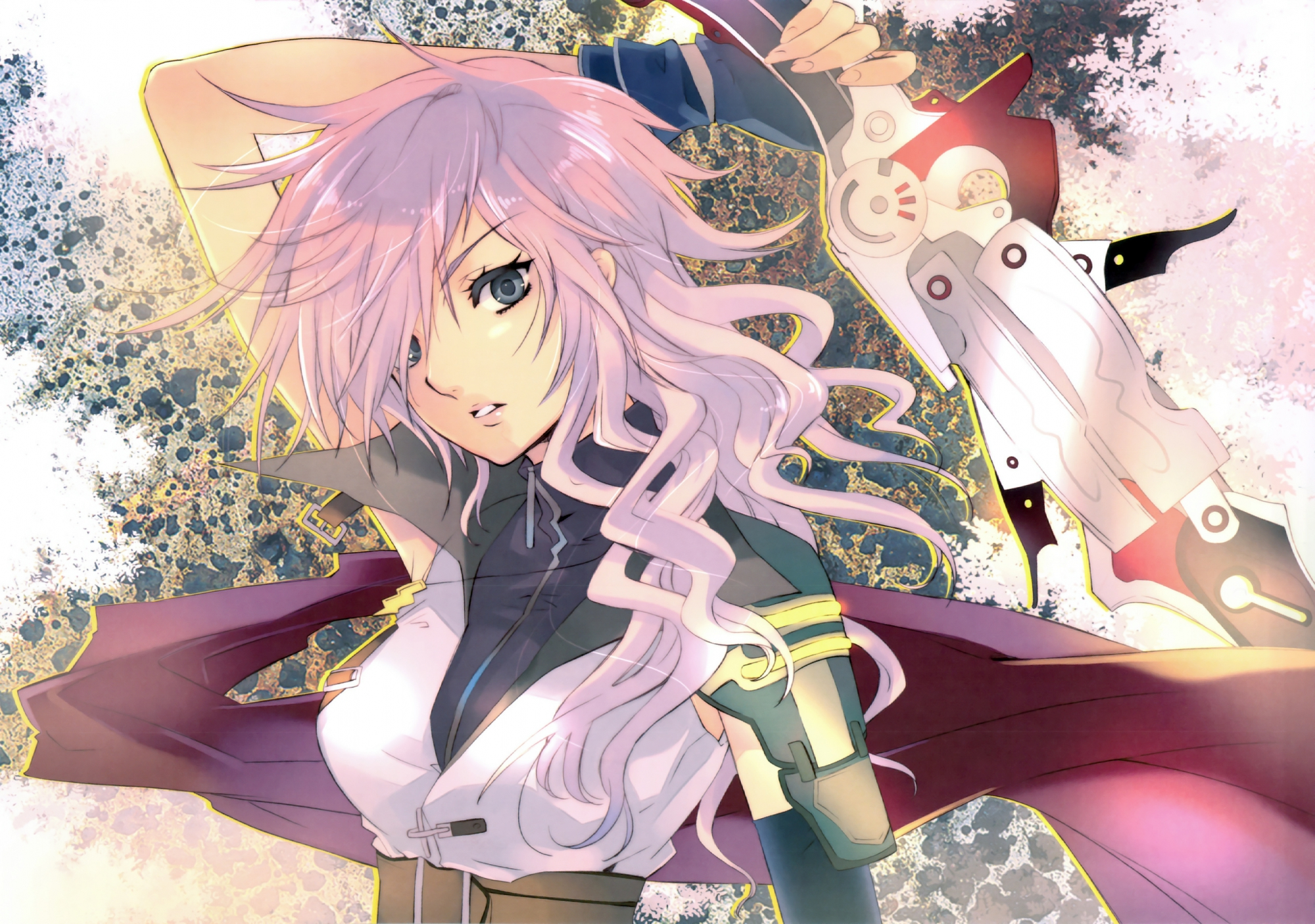 Anime girl with pink hair and a sword