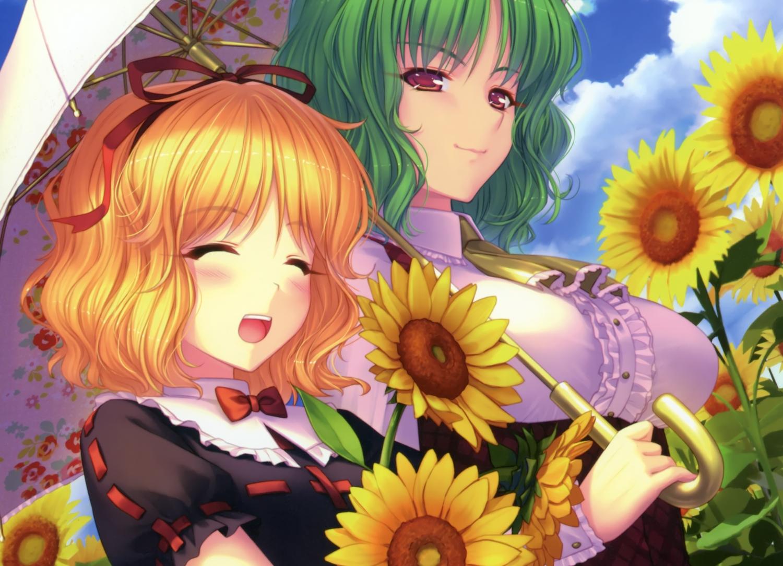blonde_hair bow cropped flowers green_hair kazami_yuuka medicine_melancholy red_eyes sayori scan sunflower touhou umbrella