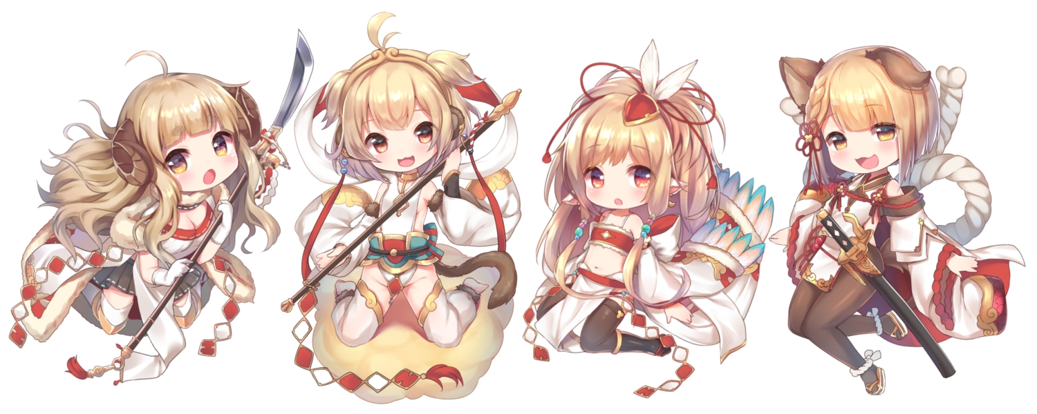 andira_(granblue_fantasy) anila_(granblue_fantasy) animal_ears blonde_hair braids brown_eyes cat_smile chibi granblue_fantasy horns japanese_clothes loli long_hair mahira_(granblue_fantasy) navel pointed_ears ponytail short_hair skirt spear staff sword tail thighhighs topia vajra_(granblue_fantasy) weapon yellow_eyes