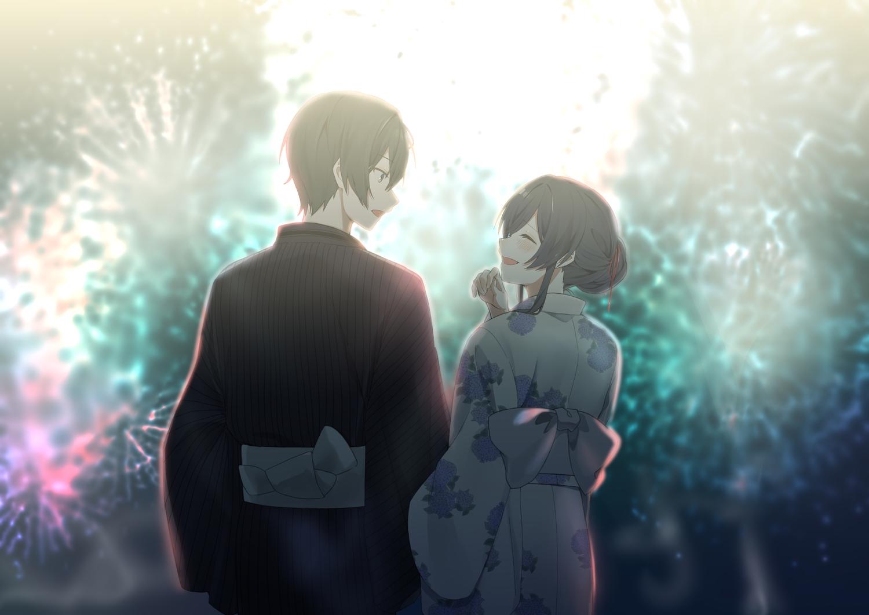black_hair blush fireworks japanese_clothes kito_akari male osananajimi_no_imouto_no_kaiteikyoushi_wo_hajimetara short_hair sinomi tagme_(character) yukata