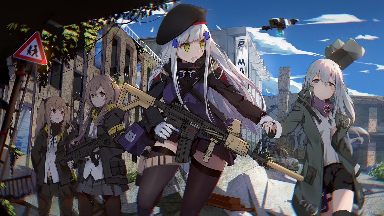 anthropomorphism g11_(girls_frontline) girls_frontline group gun hk416_(girls_frontline) long_hair marcellokito! pantyhose thighhighs ump-45_(girls_frontline) ump-9_(girls_frontline) weapon