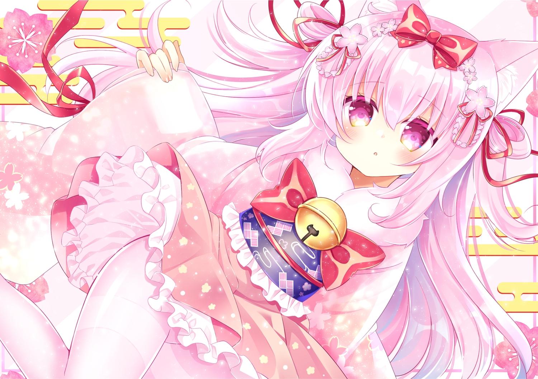 animal_ears anthropomorphism azur_lane bell catgirl japanese_clothes kisaragi_(azur_lane) loli lolita_fashion long_hair pantyhose pink_eyes pink_hair ribbons shikito
