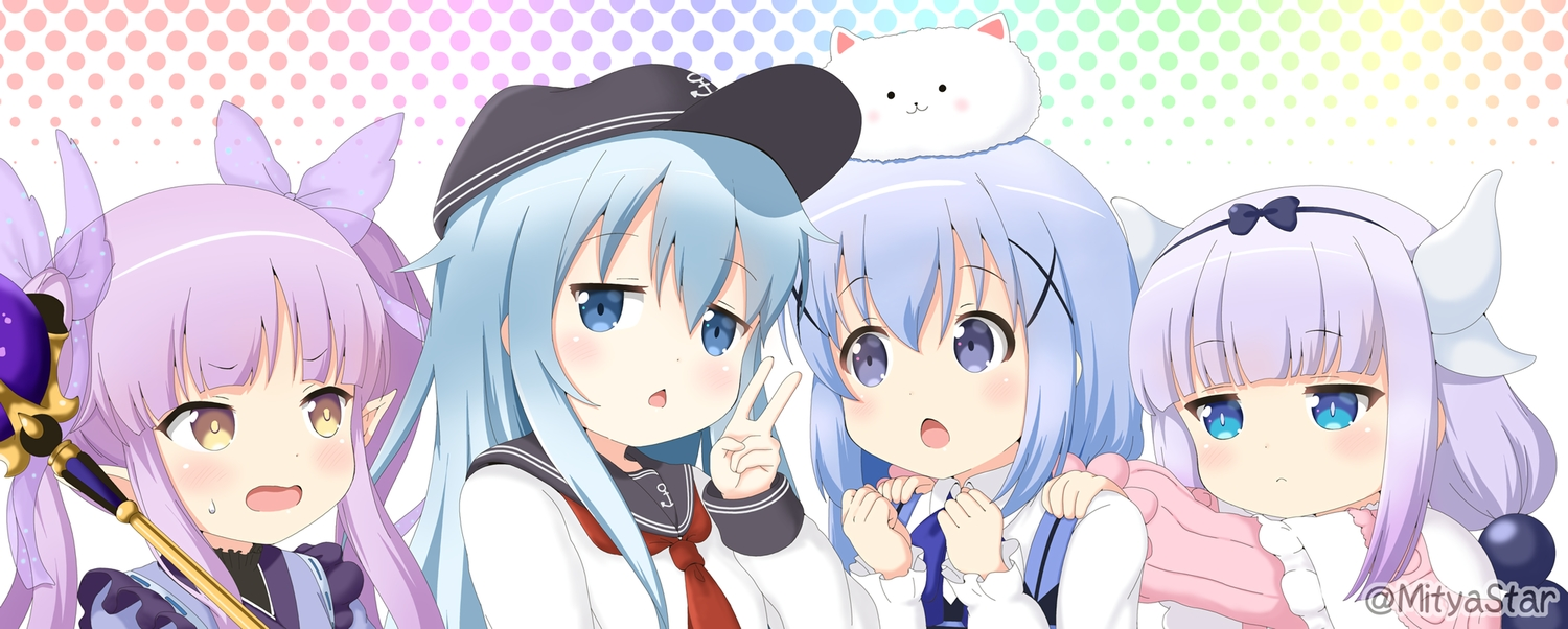 animal aqua_eyes blue_eyes blue_hair crossover gochuumon_wa_usagi_desu_ka? gray_hair group hat hibiki_(kancolle) hikawa_kyoka horns japanese_clothes kafuu_chino kanna_kamui kantai_collection kobayashi-san_chi_no_maid_dragon loli long_hair miicha pointed_ears princess_connect! purple_hair rabbit school_uniform staff tippy_(gochuumon_wa_usagi_desu_ka?) twintails waitress watermark yellow_eyes