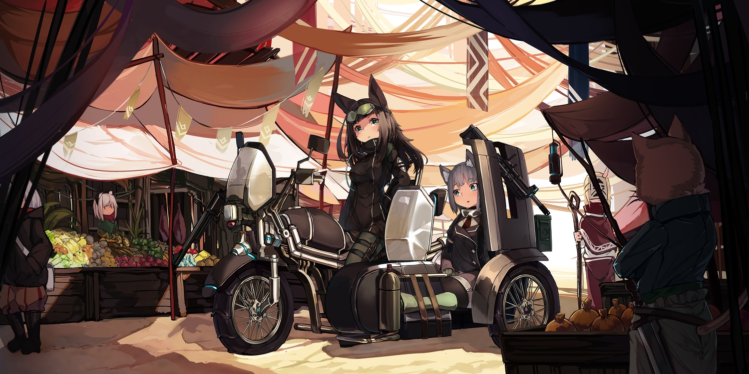 aliasing animal_ears brown_hair catgirl food foxgirl fruit goggles gray_hair green_eyes group long_hair mask motorcycle natori_youkai original short_hair tail