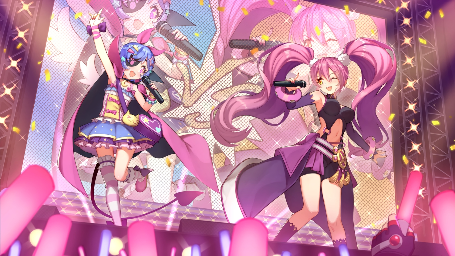 2girls amy_plie blue_hair breasts cape elbow_gloves eyepatch gloves grand_chase loli long_hair microphone orange_eyes pink_eyes pink_hair short_hair sofia_(grand_chase) tagme_(artist) tail thighhighs twintails