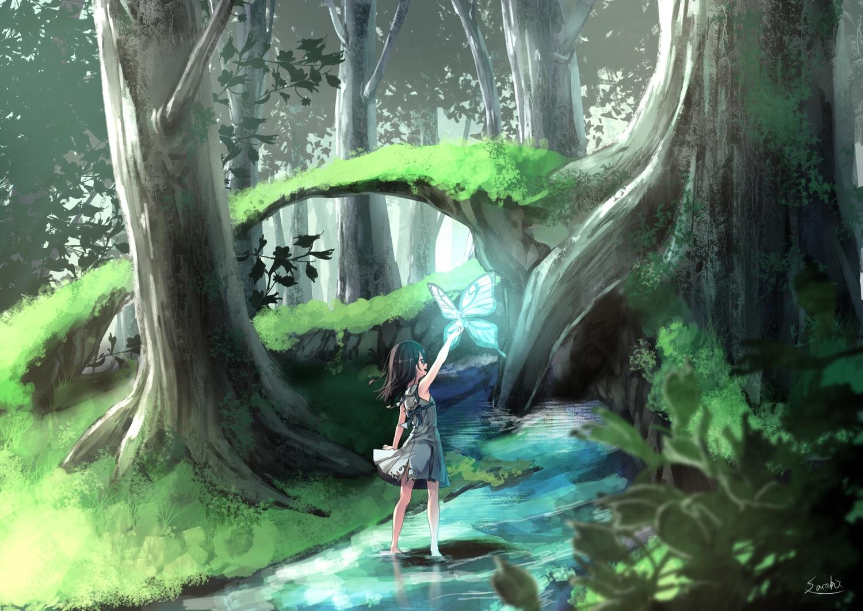 barefoot black_eyes black_hair dress fairy forest long_hair original saraki signed tree water wings