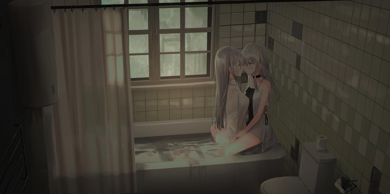 2girls bandage bath bathtub blush chihuri405 choker dark dress gray_hair hug kiss long_hair original shirt shoujo_ai summer_dress tattoo water