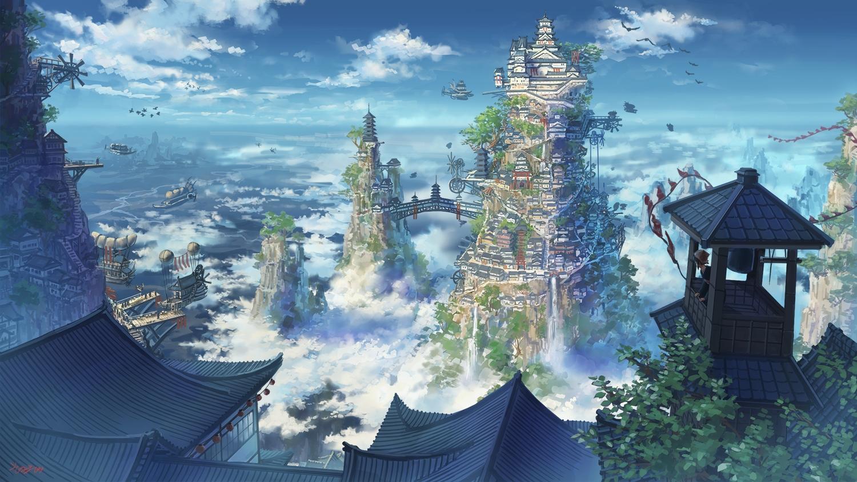 airship animal bird building city clouds original scenic signed sky somei_yoshinori windmill