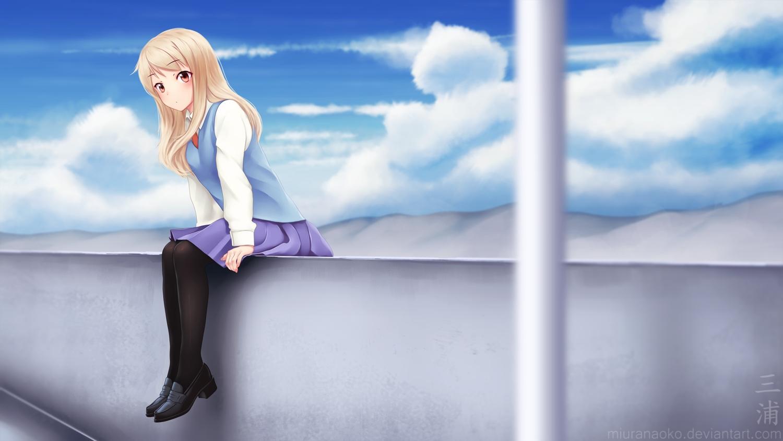 blonde_hair clouds long_hair miura_naoko pantyhose red_eyes sakura-sou_no_pet_na_kanojo seifuku shiina_mashiro sky