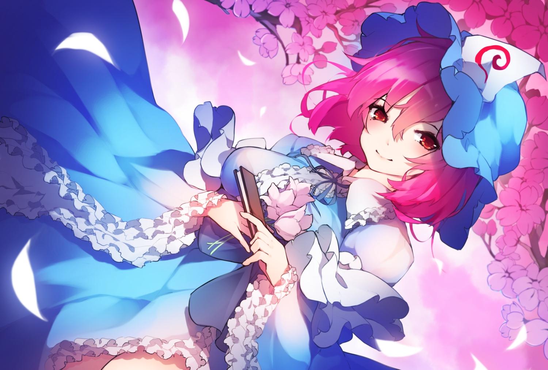 cherry_blossoms chiroru_(cheese-roll) fan flowers hat pink_hair red_eyes saigyouji_yuyuko short_hair touhou