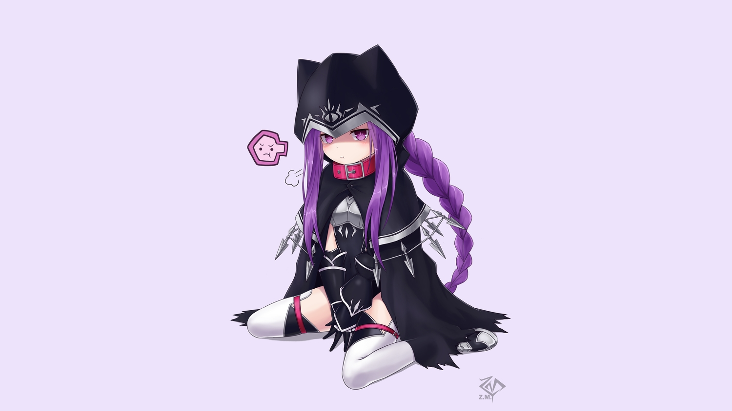 armor blush bodysuit cape collar elbow_gloves fate/grand_order fate_(series) gloves hoodie long_hair medusa_(lily) purple_eyes purple_hair rider signed thighhighs z.m.